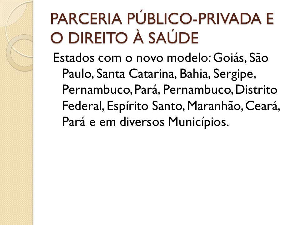 PARCERIA PÚBLICO-PRIVADA E O DIREITO À SAÚDE Estados com o novo modelo: Goiás, São Paulo, Santa Catarina, Bahia, Sergipe, Pernambuco, Pará, Pernambuco
