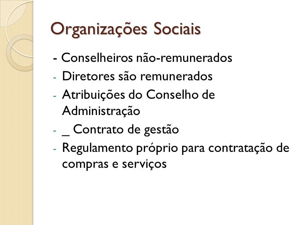 Organizações Sociais - Conselheiros não-remunerados - Diretores são remunerados - Atribuições do Conselho de Administração - _ Contrato de gestão - Re
