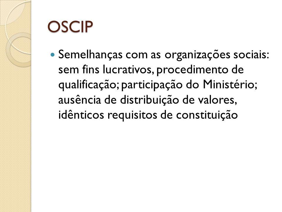 OSCIP  Semelhanças com as organizações sociais: sem fins lucrativos, procedimento de qualificação; participação do Ministério; ausência de distribuiç