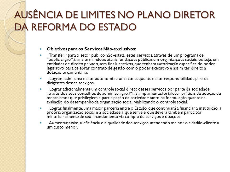 AUSÊNCIA DE LIMITES NO PLANO DIRETOR DA REFORMA DO ESTADO  Objetivos para os Serviços Não-exclusivos:  · Transferir para o setor publico não-estatal
