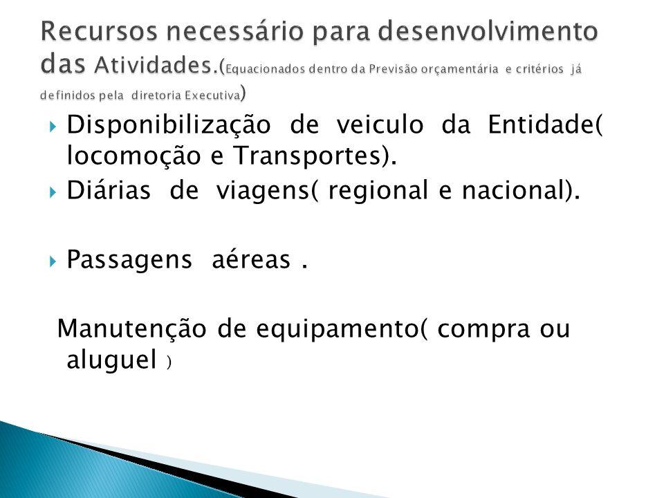  Disponibilização de veiculo da Entidade( locomoção e Transportes).