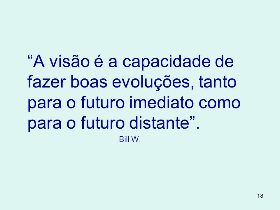 18 A visão é a capacidade de fazer boas evoluções, tanto para o futuro imediato como para o futuro distante .
