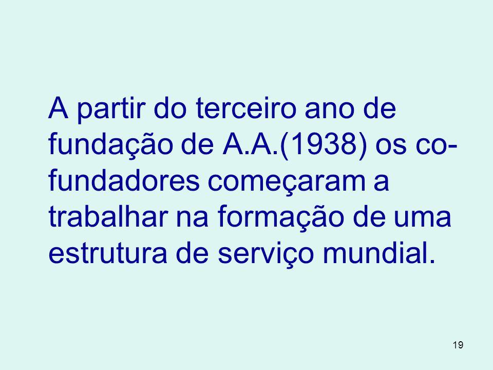 19 A partir do terceiro ano de fundação de A.A.(1938) os co- fundadores começaram a trabalhar na formação de uma estrutura de serviço mundial.