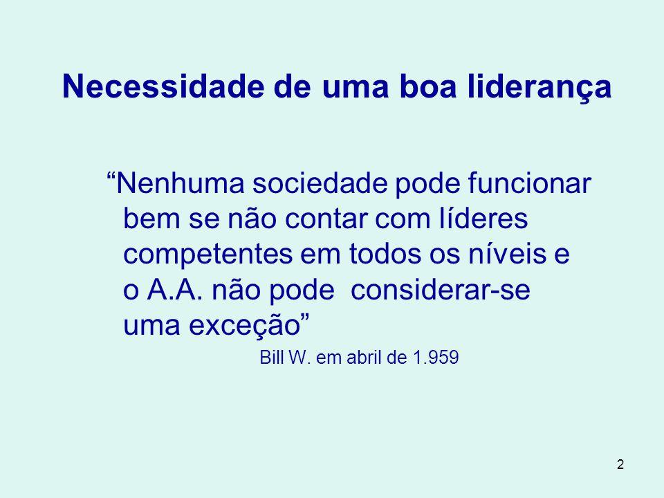 2 Necessidade de uma boa liderança Nenhuma sociedade pode funcionar bem se não contar com líderes competentes em todos os níveis e o A.A.