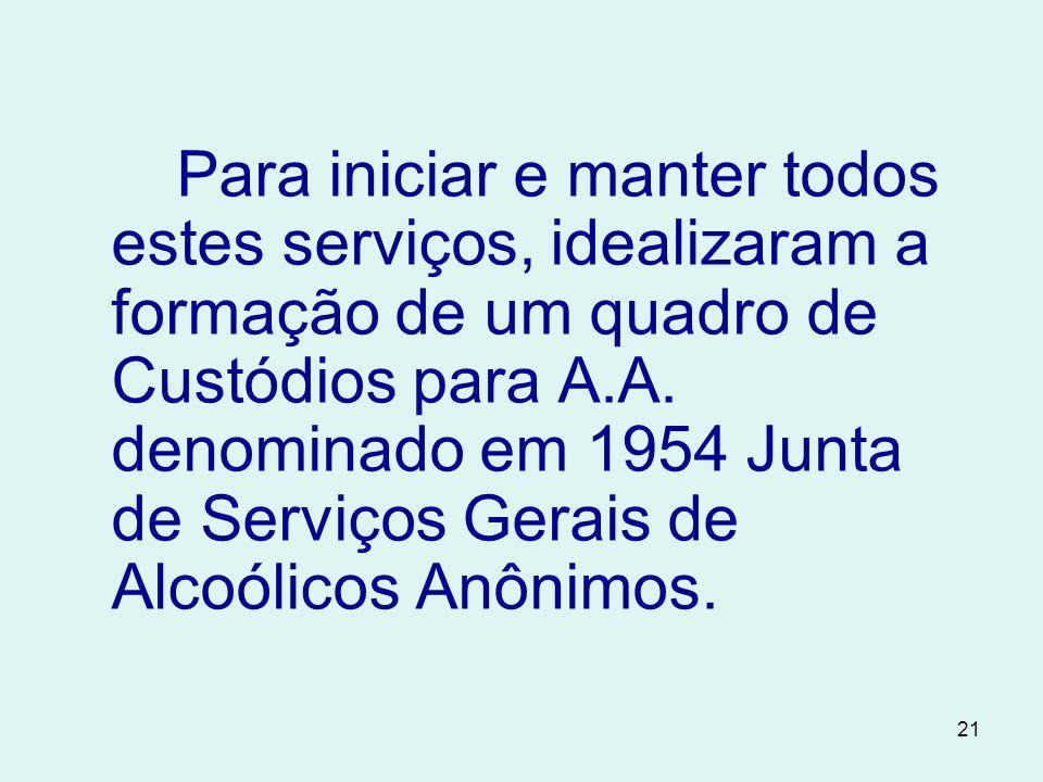 21 Para iniciar e manter todos estes serviços, idealizaram a formação de um quadro de Custódios para A.A.