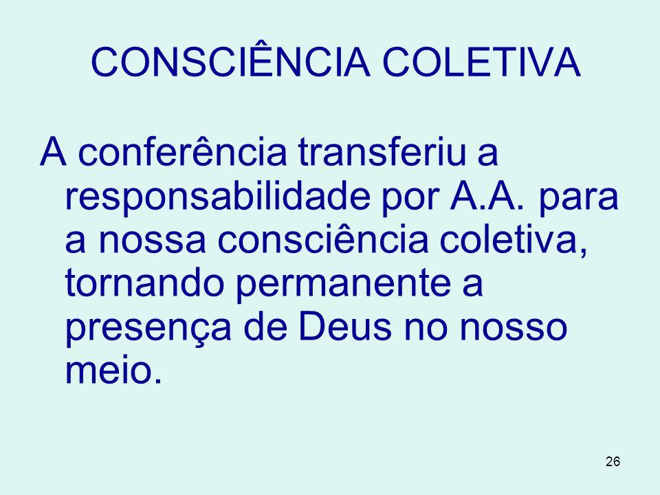 26 CONSCIÊNCIA COLETIVA A conferência transferiu a responsabilidade por A.A.