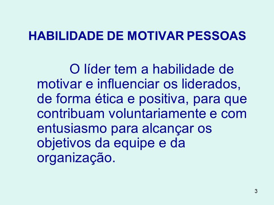 3 HABILIDADE DE MOTIVAR PESSOAS O líder tem a habilidade de motivar e influenciar os liderados, de forma ética e positiva, para que contribuam voluntariamente e com entusiasmo para alcançar os objetivos da equipe e da organização.