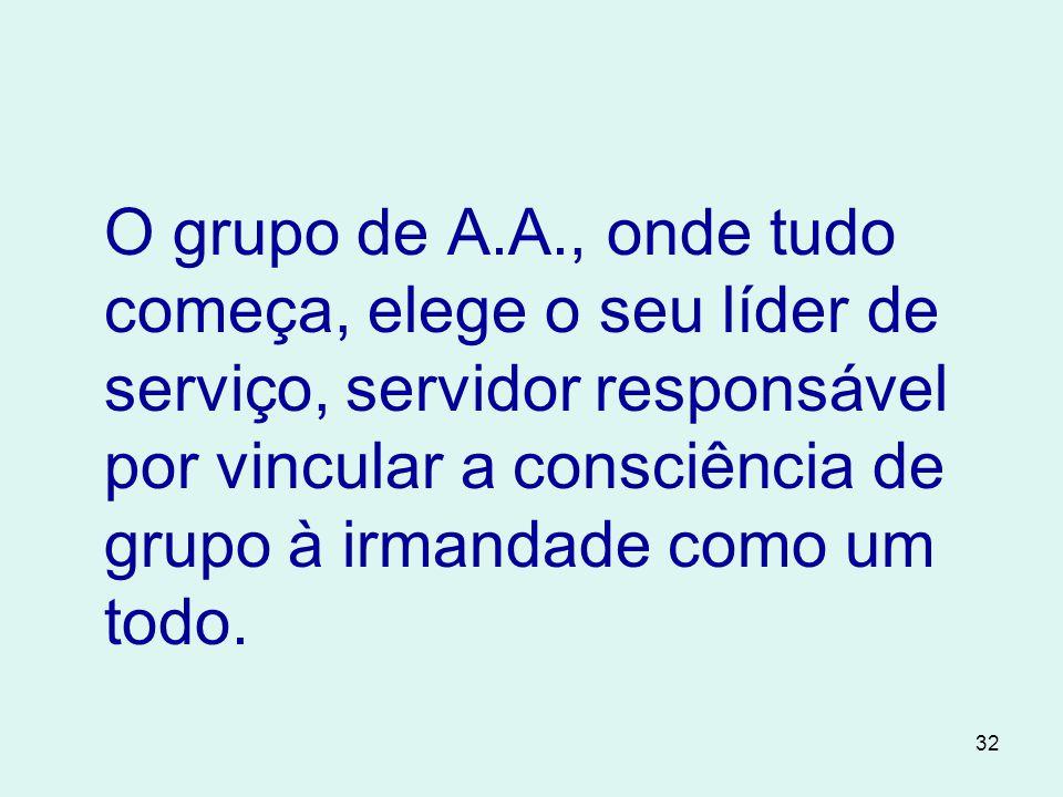 32 O grupo de A.A., onde tudo começa, elege o seu líder de serviço, servidor responsável por vincular a consciência de grupo à irmandade como um todo.