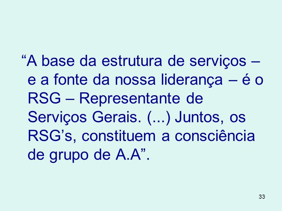33 A base da estrutura de serviços – e a fonte da nossa liderança – é o RSG – Representante de Serviços Gerais.