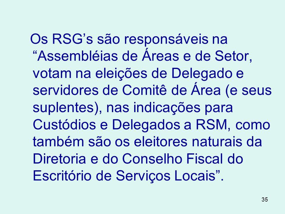 35 Os RSG's são responsáveis na Assembléias de Áreas e de Setor, votam na eleições de Delegado e servidores de Comitê de Área (e seus suplentes), nas indicações para Custódios e Delegados a RSM, como também são os eleitores naturais da Diretoria e do Conselho Fiscal do Escritório de Serviços Locais .