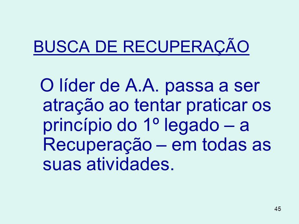 45 BUSCA DE RECUPERAÇÃO O líder de A.A.