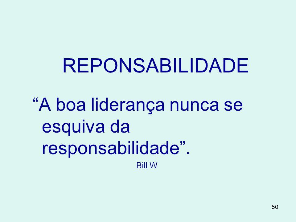 50 REPONSABILIDADE A boa liderança nunca se esquiva da responsabilidade . Bill W