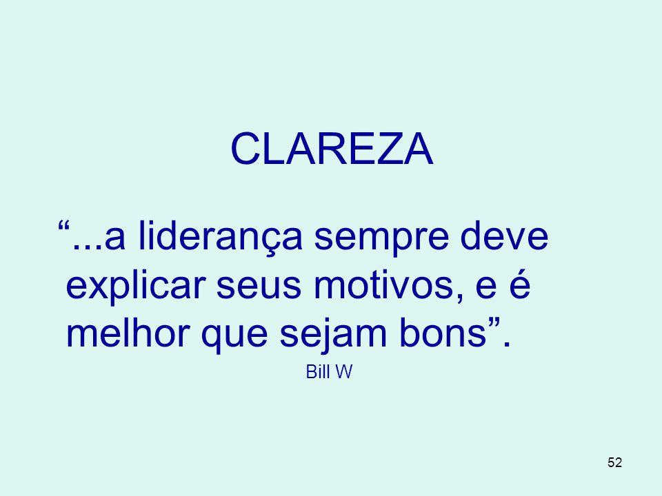 52 CLAREZA ...a liderança sempre deve explicar seus motivos, e é melhor que sejam bons . Bill W