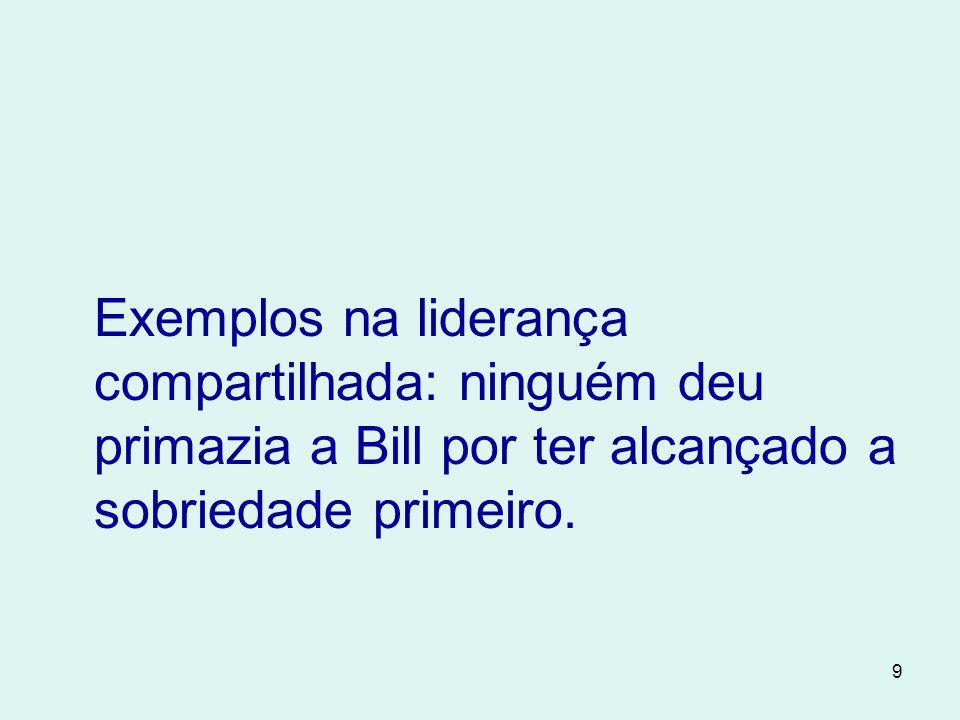 9 Exemplos na liderança compartilhada: ninguém deu primazia a Bill por ter alcançado a sobriedade primeiro.