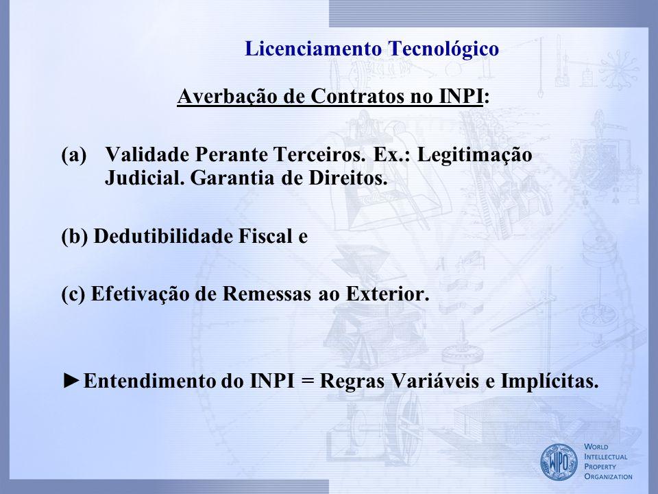 Licenciamento Tecnológico Averbação de Contratos no INPI: (a)Validade Perante Terceiros. Ex.: Legitimação Judicial. Garantia de Direitos. (b) Dedutibi