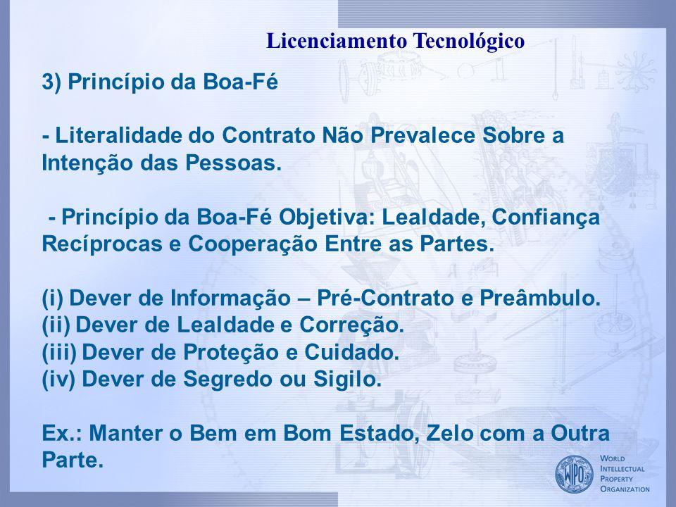 II.Princípios Básicos do Licenciamento Tecnológico 1)Código Civil - Vícios Redibitórios – Obrigação do Licenciante.