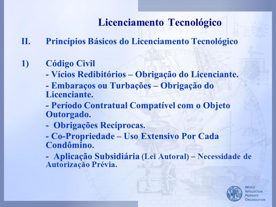 II.Princípios Básicos do Licenciamento Tecnológico 1)Código Civil - Vícios Redibitórios – Obrigação do Licenciante. - Embaraços ou Turbações – Obrigaç