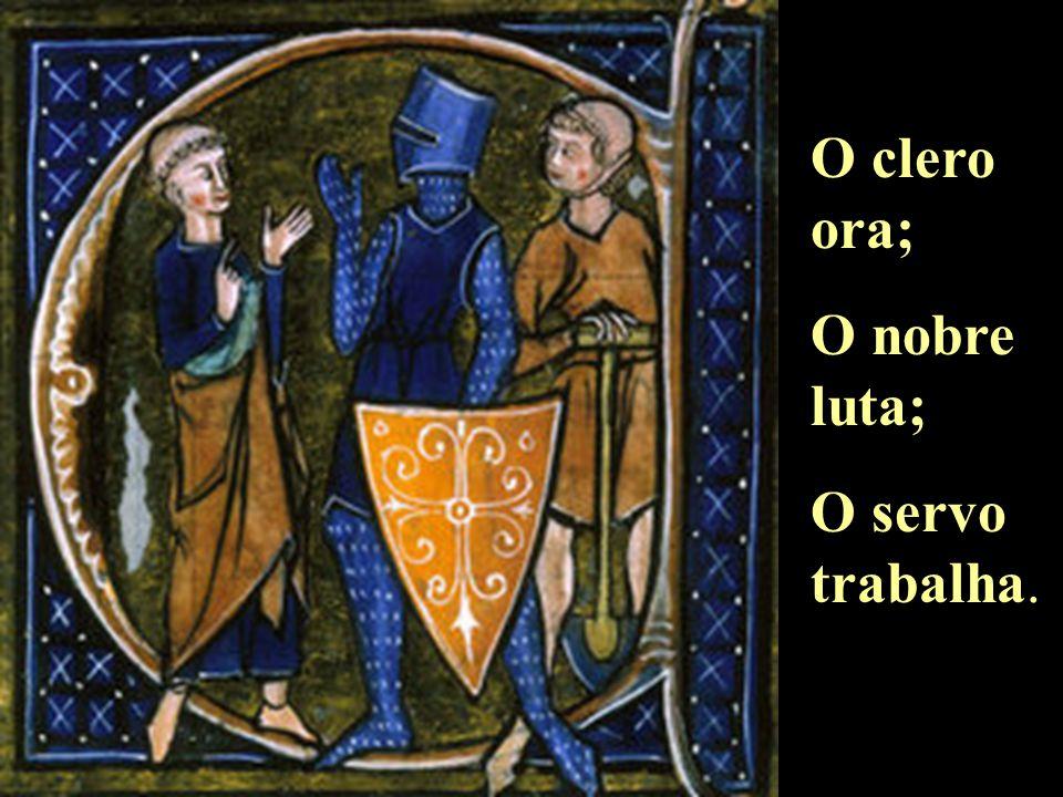 A SOCIEDADE FEUDAL Nobres Clero Servos Adalbarón de Laon (bispo do XI d.C)