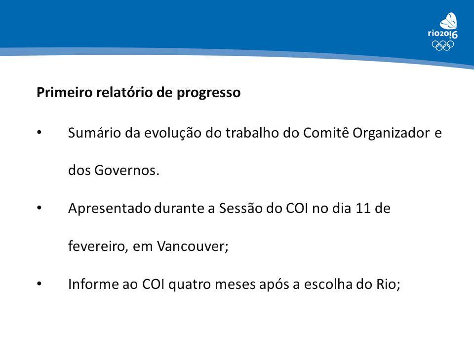 Primeiro relatório de progresso • Sumário da evolução do trabalho do Comitê Organizador e dos Governos. • Apresentado durante a Sessão do COI no dia 1
