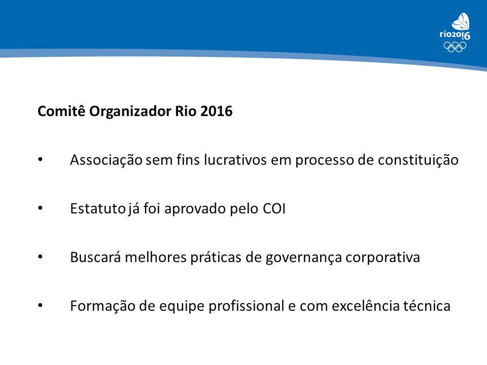 Comitê Organizador Rio 2016 • Associação sem fins lucrativos em processo de constituição • Estatuto já foi aprovado pelo COI • Buscará melhores prátic