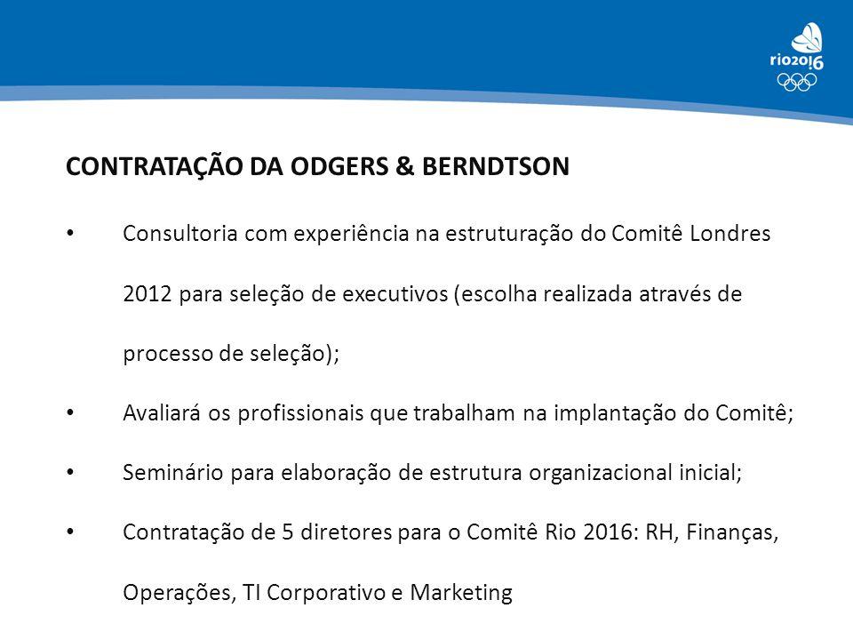 CONTRATAÇÃO DA ODGERS & BERNDTSON • Consultoria com experiência na estruturação do Comitê Londres 2012 para seleção de executivos (escolha realizada a