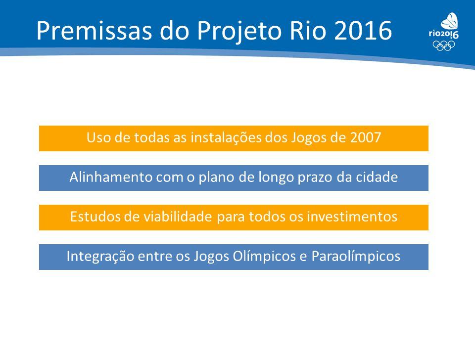 Uso de todas as instalações dos Jogos de 2007 Alinhamento com o plano de longo prazo da cidade Estudos de viabilidade para todos os investimentos Inte
