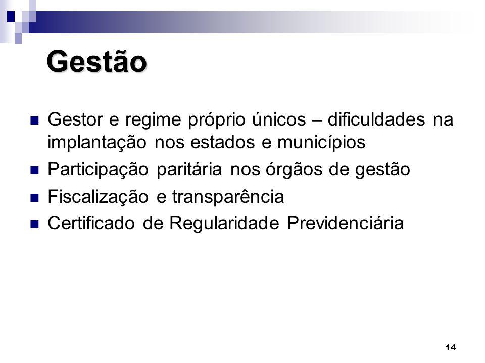 14 Gestão Gestão  Gestor e regime próprio únicos – dificuldades na implantação nos estados e municípios  Participação paritária nos órgãos de gestão