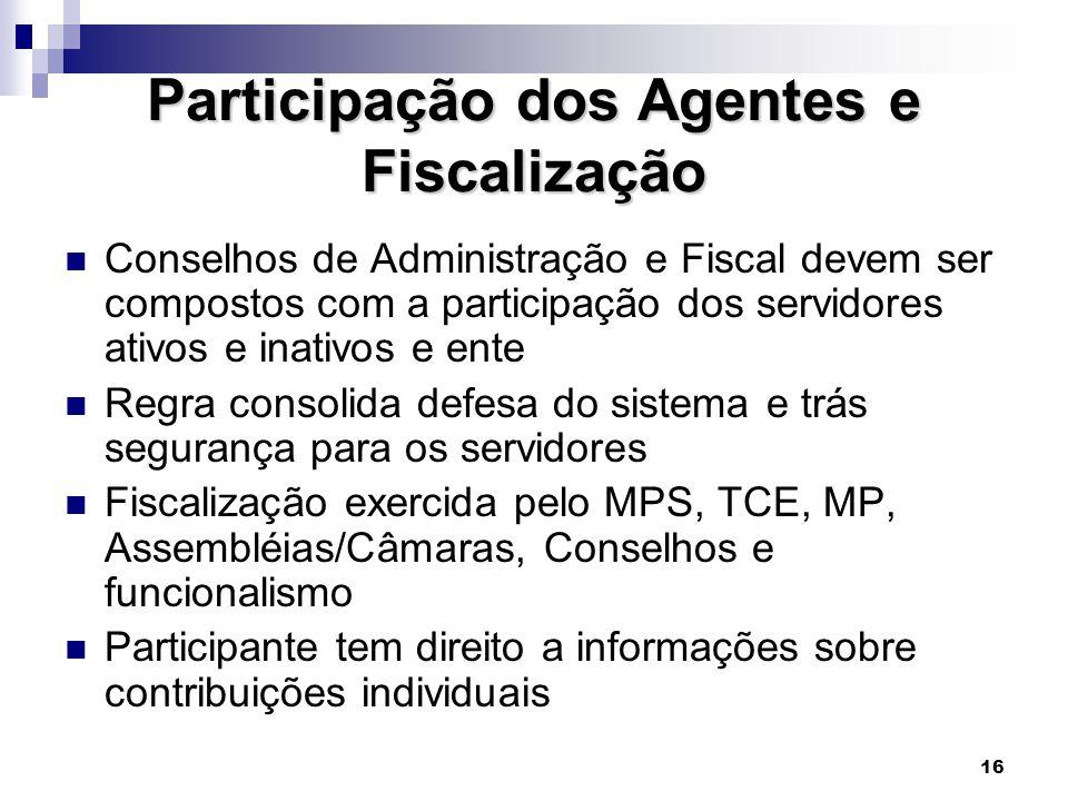16 Participação dos Agentes e Fiscalização  Conselhos de Administração e Fiscal devem ser compostos com a participação dos servidores ativos e inativ