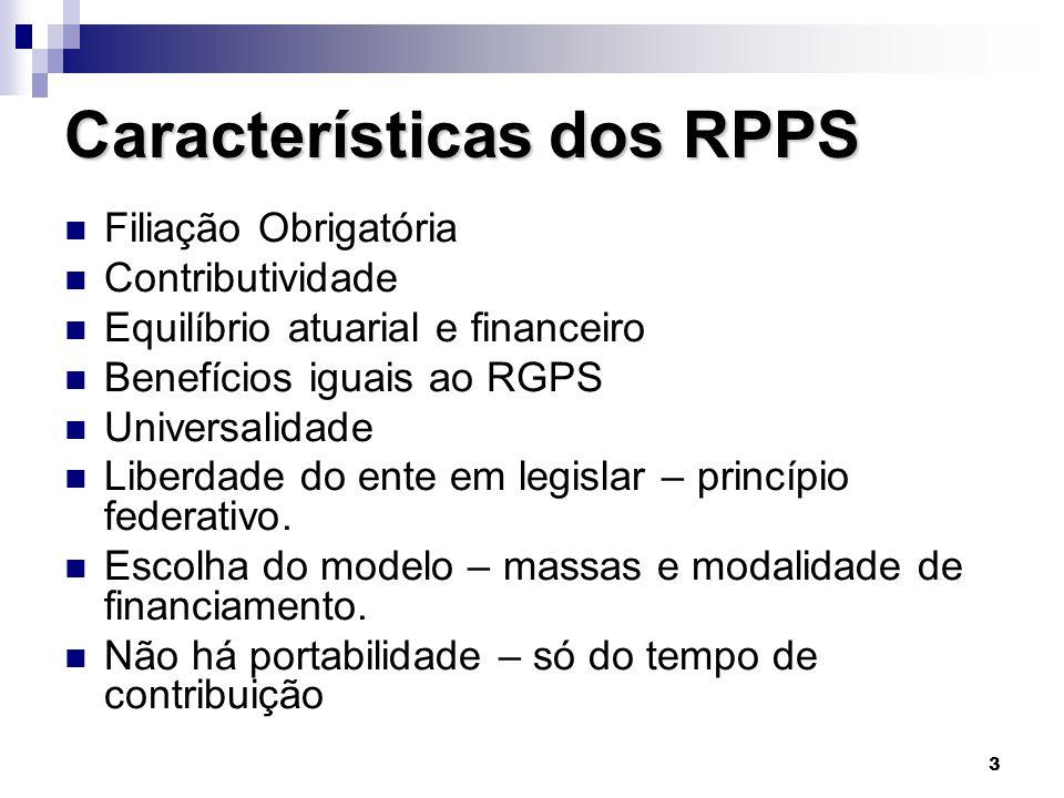 3 Características dos RPPS  Filiação Obrigatória  Contributividade  Equilíbrio atuarial e financeiro  Benefícios iguais ao RGPS  Universalidade 