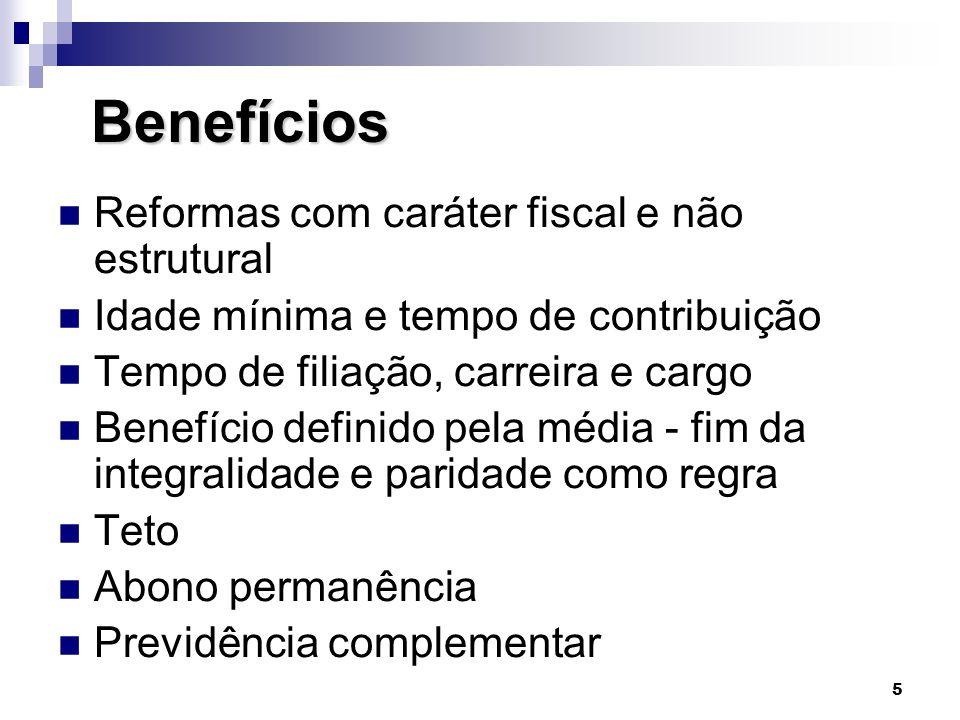 5 Benefícios Benefícios  Reformas com caráter fiscal e não estrutural  Idade mínima e tempo de contribuição  Tempo de filiação, carreira e cargo 