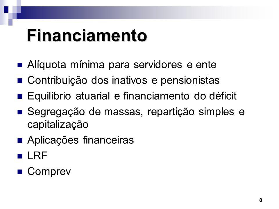 8 Financiamento Financiamento  Alíquota mínima para servidores e ente  Contribuição dos inativos e pensionistas  Equilíbrio atuarial e financiament