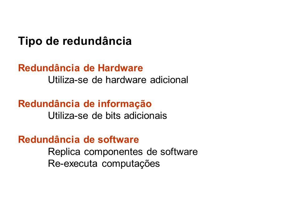Tipo de redundância Redundância de Hardware Utiliza-se de hardware adicional Redundância de informação Utiliza-se de bits adicionais Redundância de so