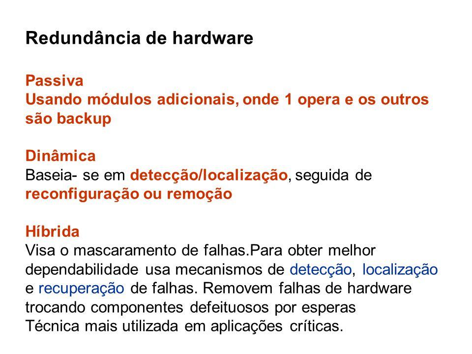 Redundância de hardware Passiva Usando módulos adicionais, onde 1 opera e os outros são backup Dinâmica Baseia- se em detecção/localização, seguida de