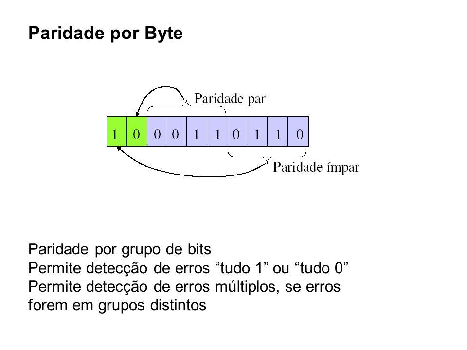 """Paridade por Byte Paridade por grupo de bits Permite detecção de erros """"tudo 1"""" ou """"tudo 0"""" Permite detecção de erros múltiplos, se erros forem em gru"""