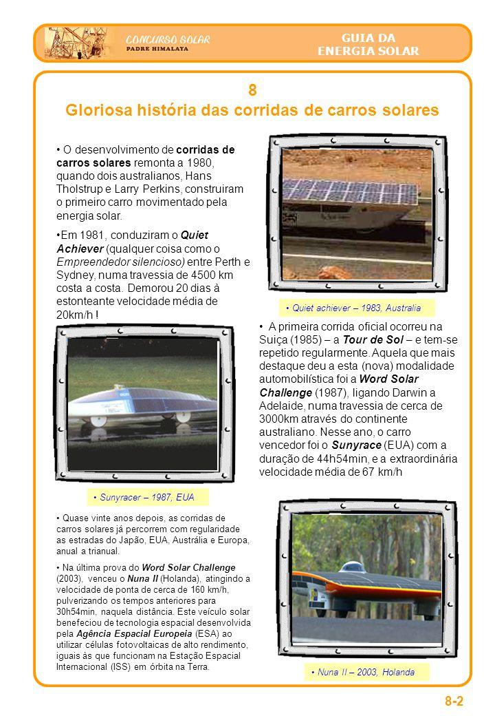 GUIA DA ENERGIA SOLAR 8-2 8 Gloriosa história das corridas de carros solares • O desenvolvimento de corridas de carros solares remonta a 1980, quando dois australianos, Hans Tholstrup e Larry Perkins, construiram o primeiro carro movimentado pela energia solar.