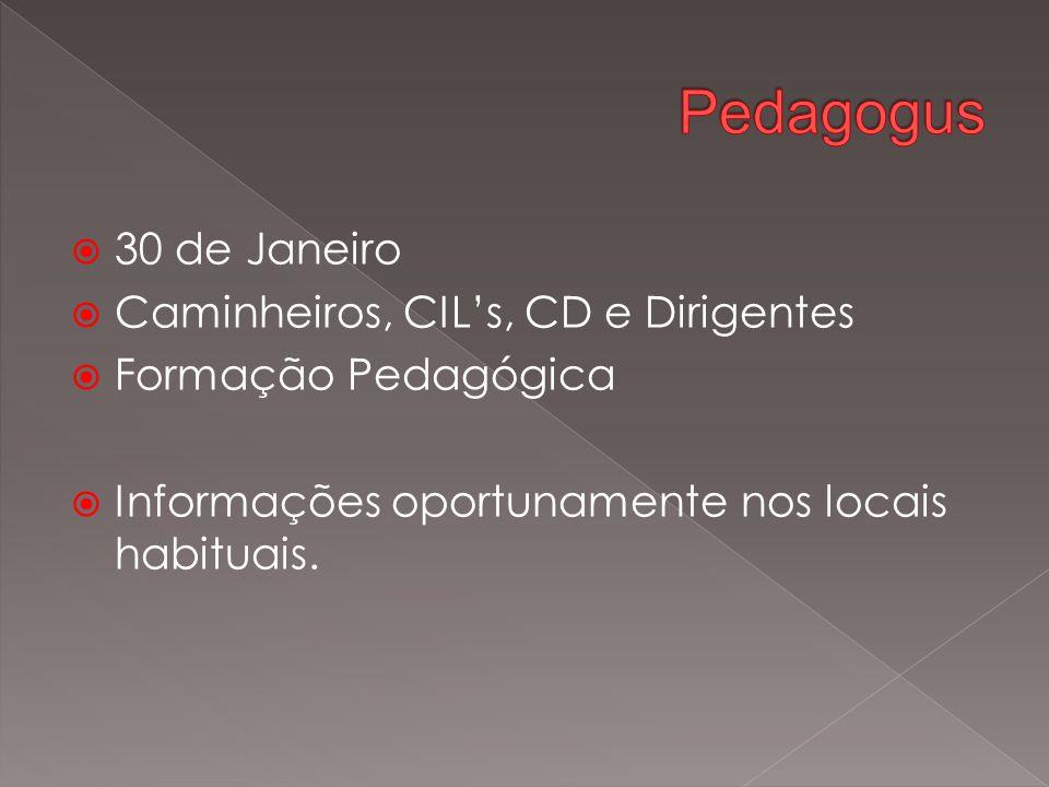  30 de Janeiro  Caminheiros, CIL's, CD e Dirigentes  Formação Pedagógica  Informações oportunamente nos locais habituais.