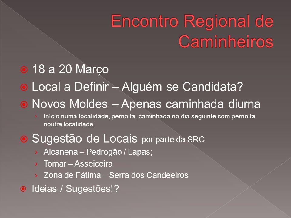  18 a 20 Março  Local a Definir – Alguém se Candidata.