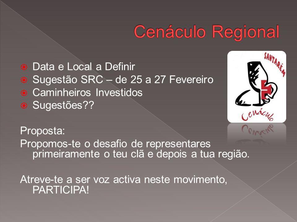  Data e Local a Definir  Sugestão SRC – de 25 a 27 Fevereiro  Caminheiros Investidos  Sugestões .