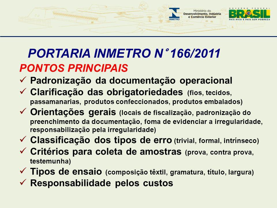 PORTARIA INMETRO N° 166/2011 PONTOS PRINCIPAIS  Padronização da documentação operacional  Clarificação das obrigatoriedades (fios, tecidos, passaman