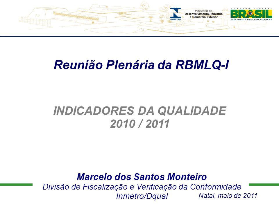 Marcelo dos Santos Monteiro Divisão de Fiscalização e Verificação da Conformidade Inmetro/Dqual Reunião Plenária da RBMLQ-I INDICADORES DA QUALIDADE 2