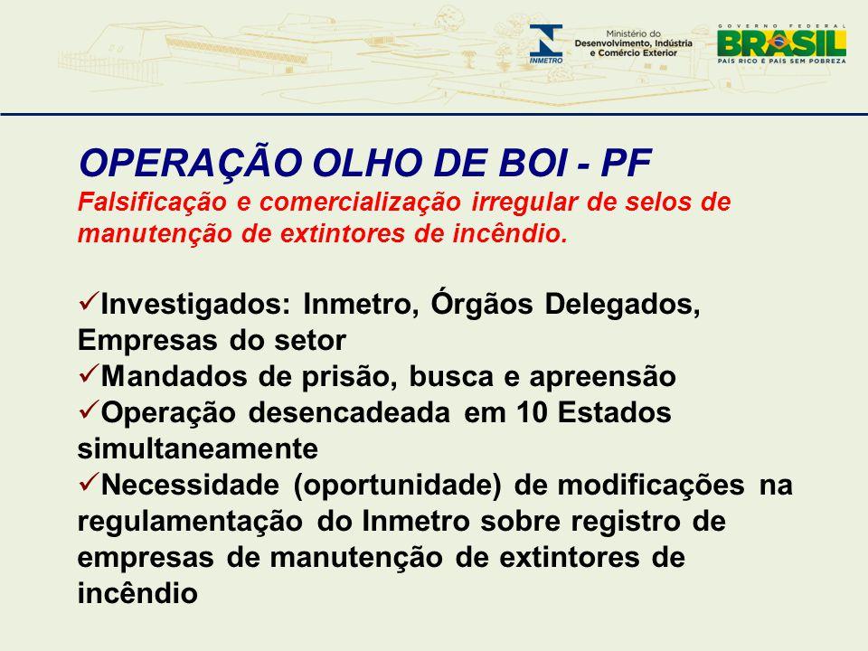 OPERAÇÃO OLHO DE BOI - PF Falsificação e comercialização irregular de selos de manutenção de extintores de incêndio.  Investigados: Inmetro, Órgãos D