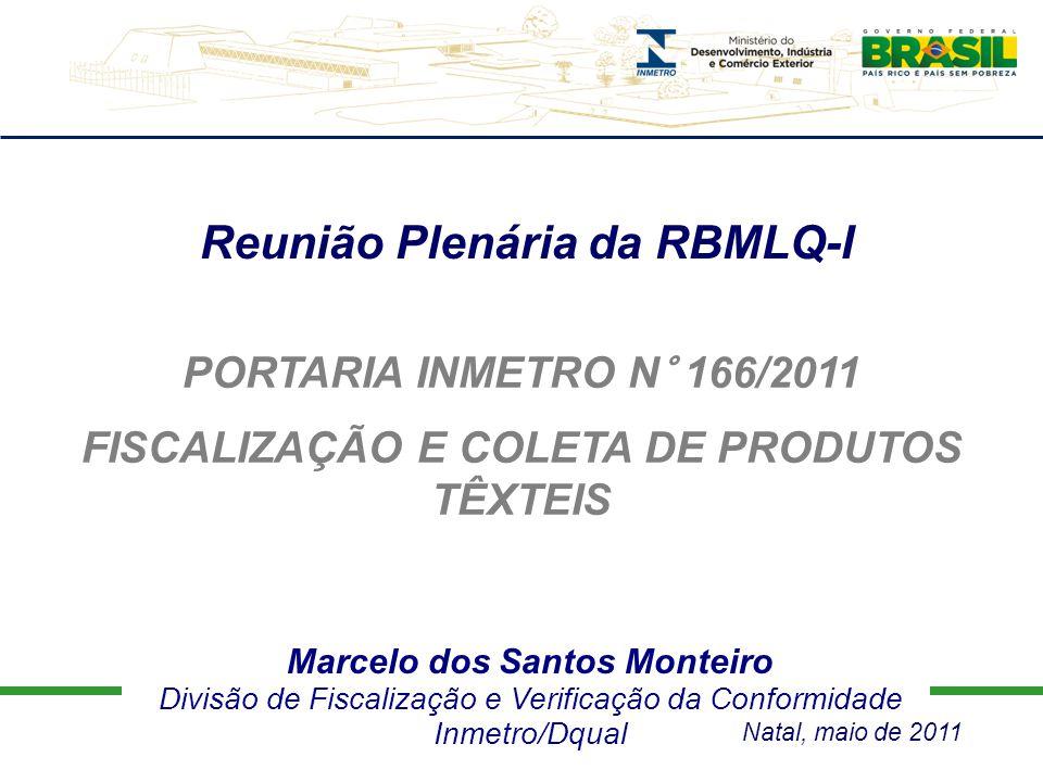 Marcelo dos Santos Monteiro Divisão de Fiscalização e Verificação da Conformidade Inmetro/Dqual Reunião Plenária da RBMLQ-I PORTARIA INMETRO N° 166/20