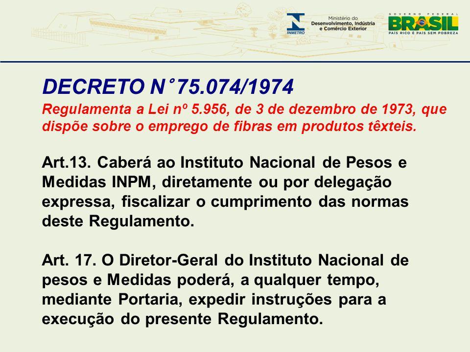 DECRETO N° 75.074/1974 Regulamenta a Lei nº 5.956, de 3 de dezembro de 1973, que dispõe sobre o emprego de fibras em produtos têxteis. Art.13. Caberá