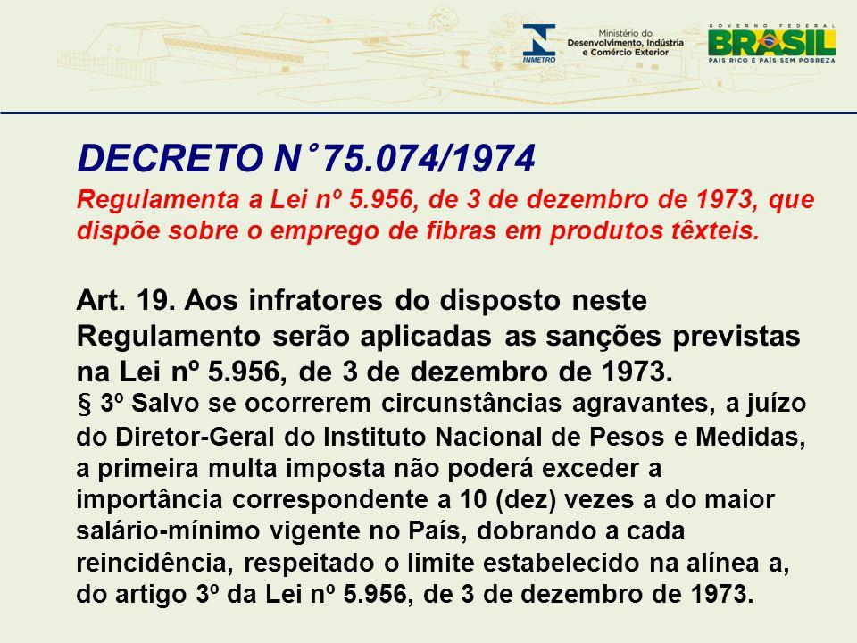 DECRETO N° 75.074/1974 Regulamenta a Lei nº 5.956, de 3 de dezembro de 1973, que dispõe sobre o emprego de fibras em produtos têxteis. Art. 19. Aos in