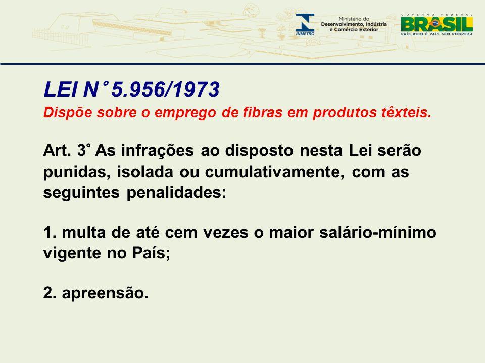 LEI N° 5.956/1973 Dispõe sobre o emprego de fibras em produtos têxteis. Art. 3° As infrações ao disposto nesta Lei serão punidas, isolada ou cumulativ