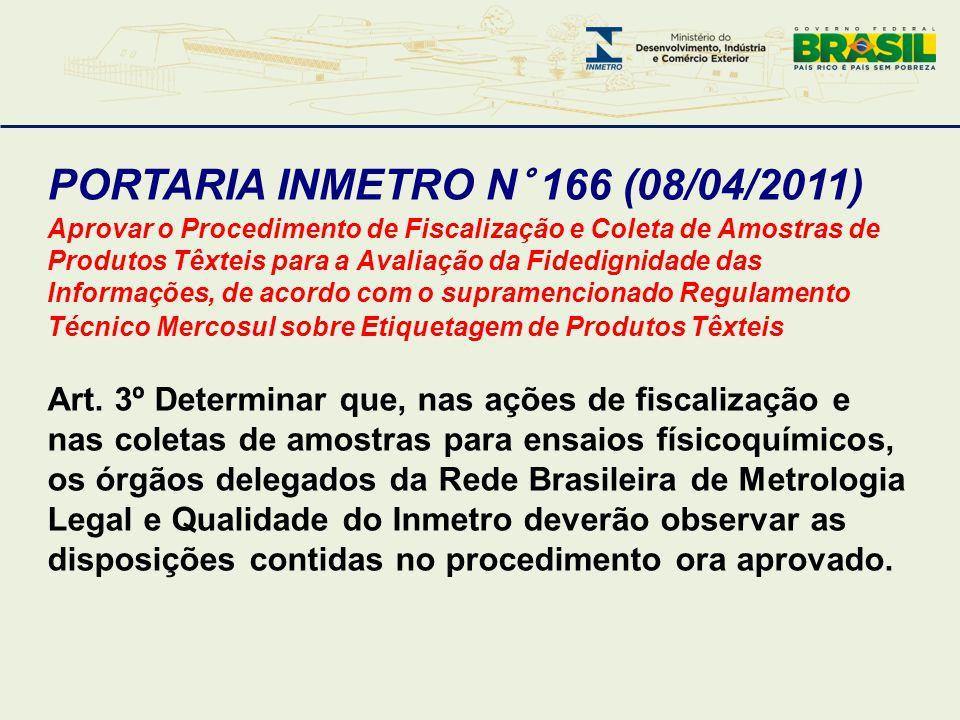 PORTARIA INMETRO N° 166 (08/04/2011) Aprovar o Procedimento de Fiscalização e Coleta de Amostras de Produtos Têxteis para a Avaliação da Fidedignidade