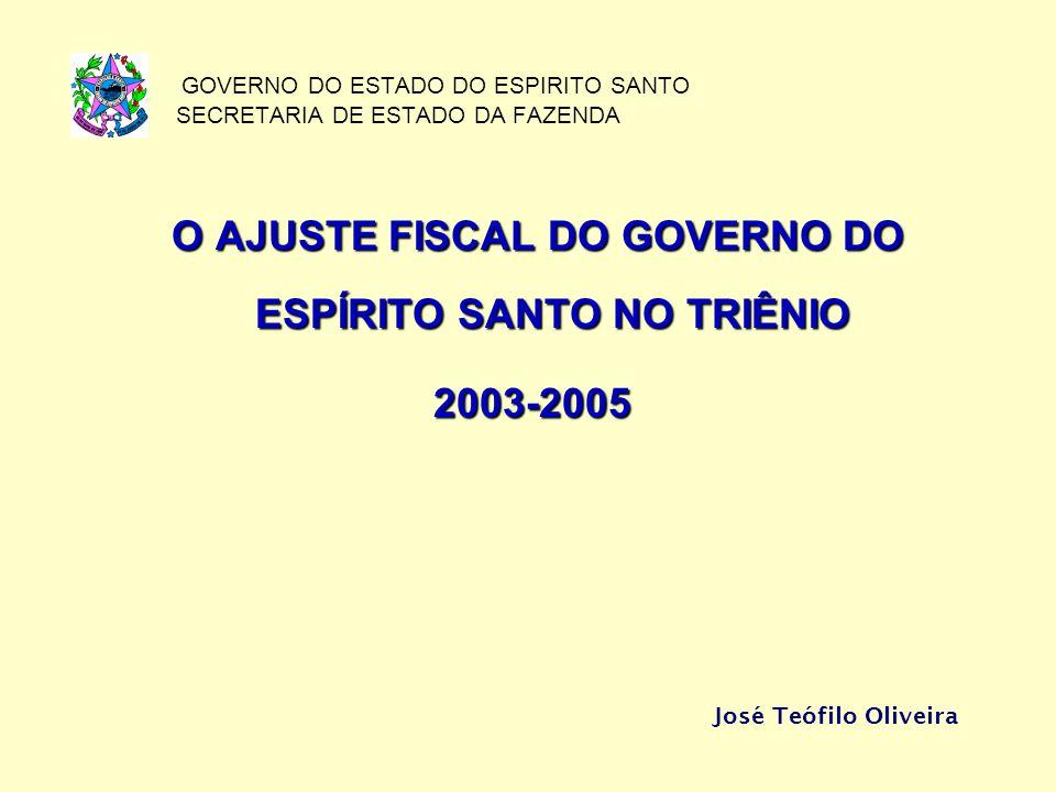 GOVERNO DO ESTADO DO ESPIRITO SANTO SECRETARIA DE ESTADO DA FAZENDA O AJUSTE FISCAL DO GOVERNO DO ESPÍRITO SANTO NO TRIÊNIO 2003-2005 José Teófilo Oliveira