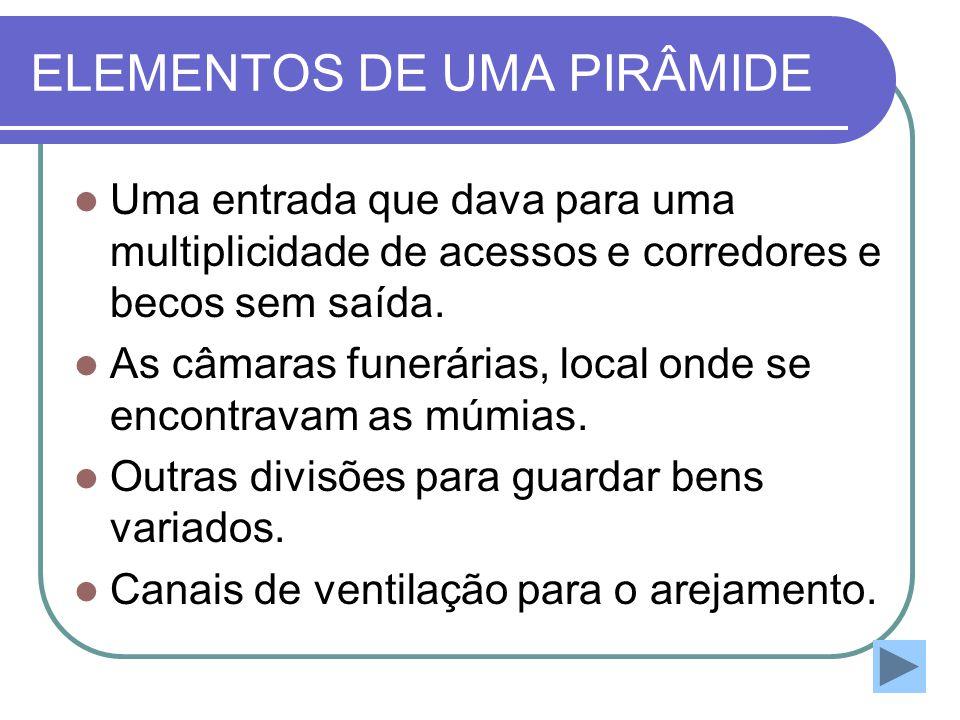 ELEMENTOS DE UMA PIRÂMIDE  Uma entrada que dava para uma multiplicidade de acessos e corredores e becos sem saída.