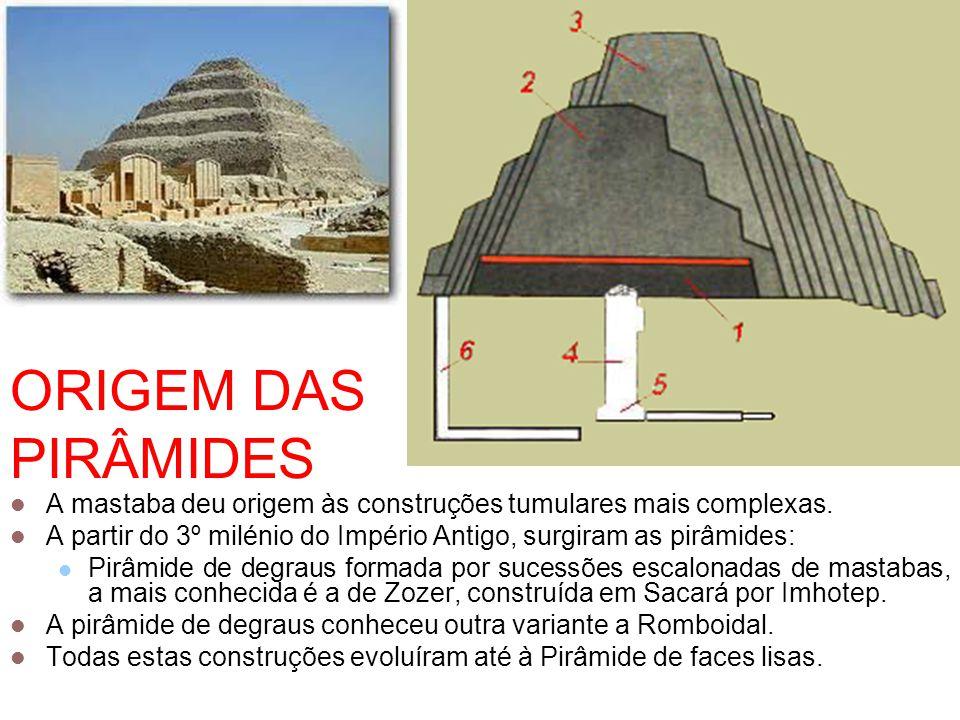 ORIGEM DAS PIRÂMIDES  A mastaba deu origem às construções tumulares mais complexas.  A partir do 3º milénio do Império Antigo, surgiram as pirâmides