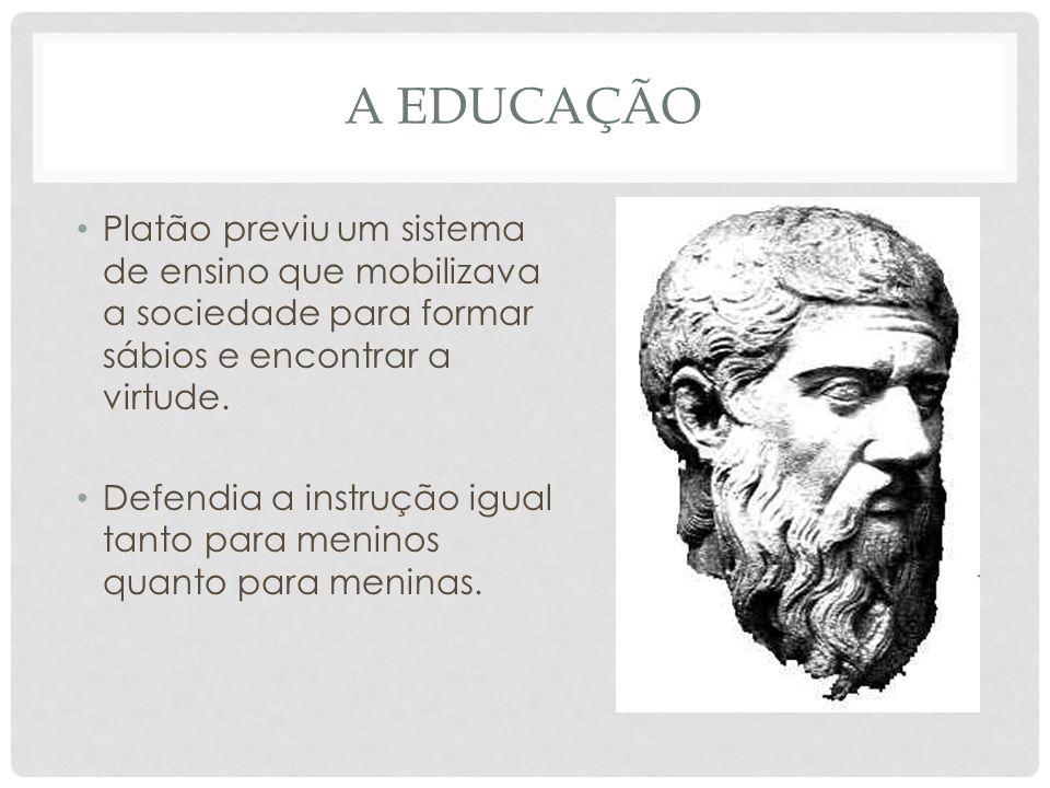 A EDUCAÇÃO • Platão previu um sistema de ensino que mobilizava a sociedade para formar sábios e encontrar a virtude.